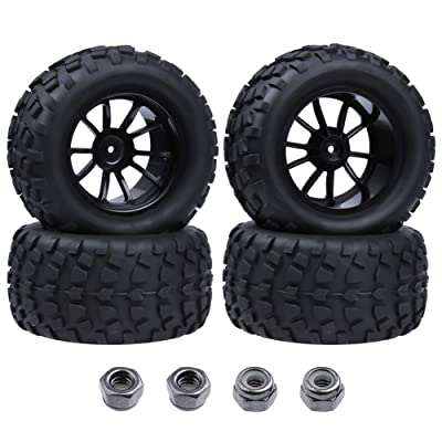 Hobbypark Tires and Wheels 12mm Hub 1:10 Off Road Monster Truck Tyre with Foam Inserts (4-Pack): Toys & Games