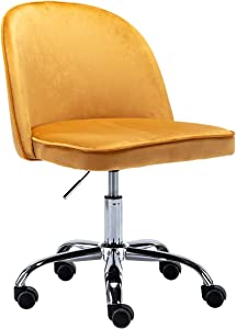 Kmax Desk Chair, Task Chair Armless Design for Small Home and Office, Melon Yellow
