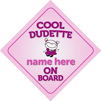 Cool Dudette On Board Car Sign New Baby//Child Gift//Present