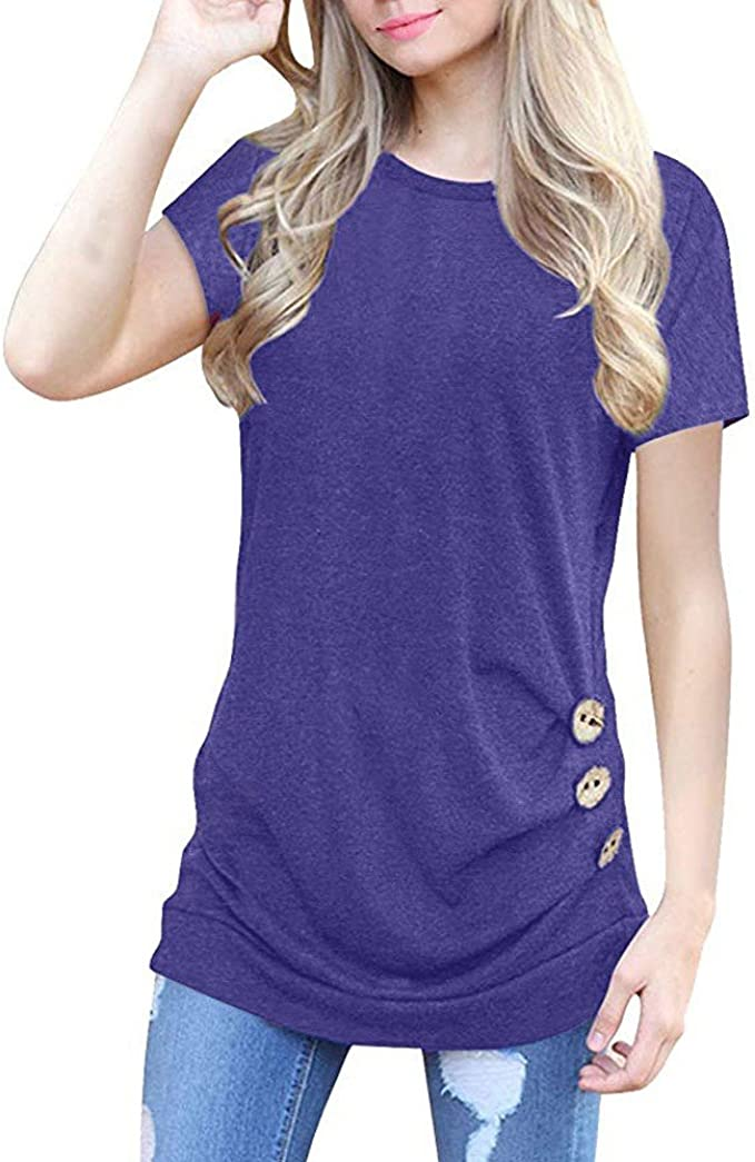 ZEFOTIM Women Casual Solid O-Neck Short Sleeve with Buttons Tops Blouse