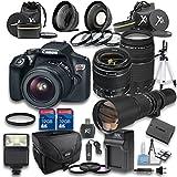 Canon EOS Rebel T6 Digital SLR Camera with EF-S 18-55mm f/3.5-5.6 IS II Lens + Canon EF 75-300mm f/4-5.6 III Lens + 500mm f/8 Manual Focus Telephoto Lens - International Version (No Warranty)