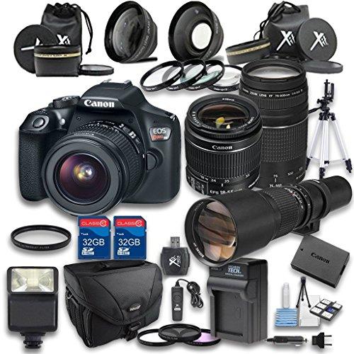 Canon EOS Rebel T6 Digital SLR Camera with EF-S 18-55mm f/3.5-5.6 IS II Lens + Canon EF 75-300mm f/4-5.6 III Lens + 650-1300mm f/8-16 Manual Focus Lens - International Version (No Warranty)