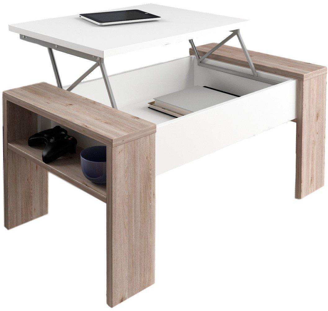 Table basse relevable Andrea - couleurs bois cérusé et blanc - 98 x 50 x 43 cm