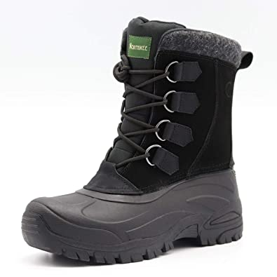 NORTHIKEE Mens Snow Boots Insulated Cold Weather Waterproof Mid Calf Slip  Resistant Lace Up Removable Liner Boots with Suede Nubuck Leather Upper  Rubber ... 18e928849517