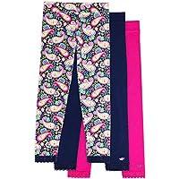 Jada Girls Leggings, 3 Pack, Tagless, Full Length, Lace Trim, Wide Waistband