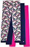 Jada Athletic Leggings for Girls, 3 Pack, Tagless, Lace Trim, Full Length, Pink/Navy/Paisley Print, 7/8