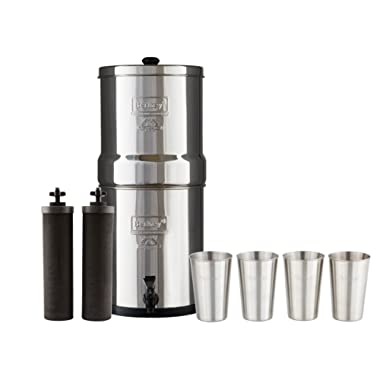 Bundle Includes Big Berkey Water Filter with 2 Black Purifier Filters (2 Gallons) System Bundled with 1-Set of 4 BX 12 oz Stainless Steel Cups
