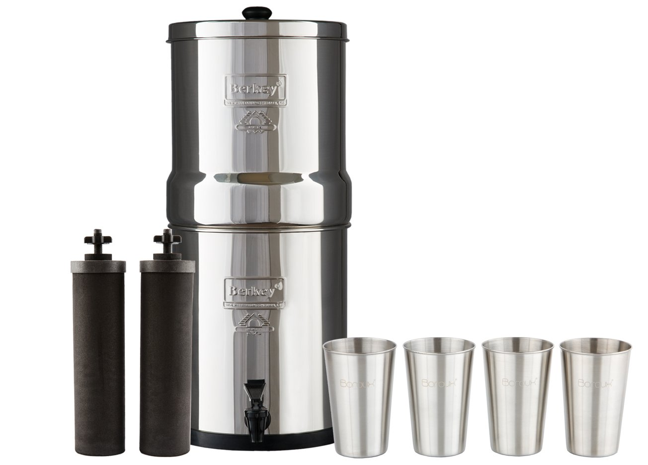 Big Berkey Water Filter with 2 Black Purifier Filters (2 Gallons) System Bundled with 1-set of 4 Boroux 12 oz Stainless Steel Cups for drinking the best tasting water