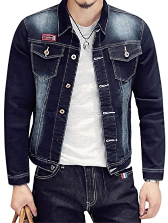 2bb6428b5f BOBOYU Mens Washed Single Breasted Long Sleeve Slim Fit Trendy Rugged Wear  Unlined Denim Jacket Coat at Amazon Men s Clothing store