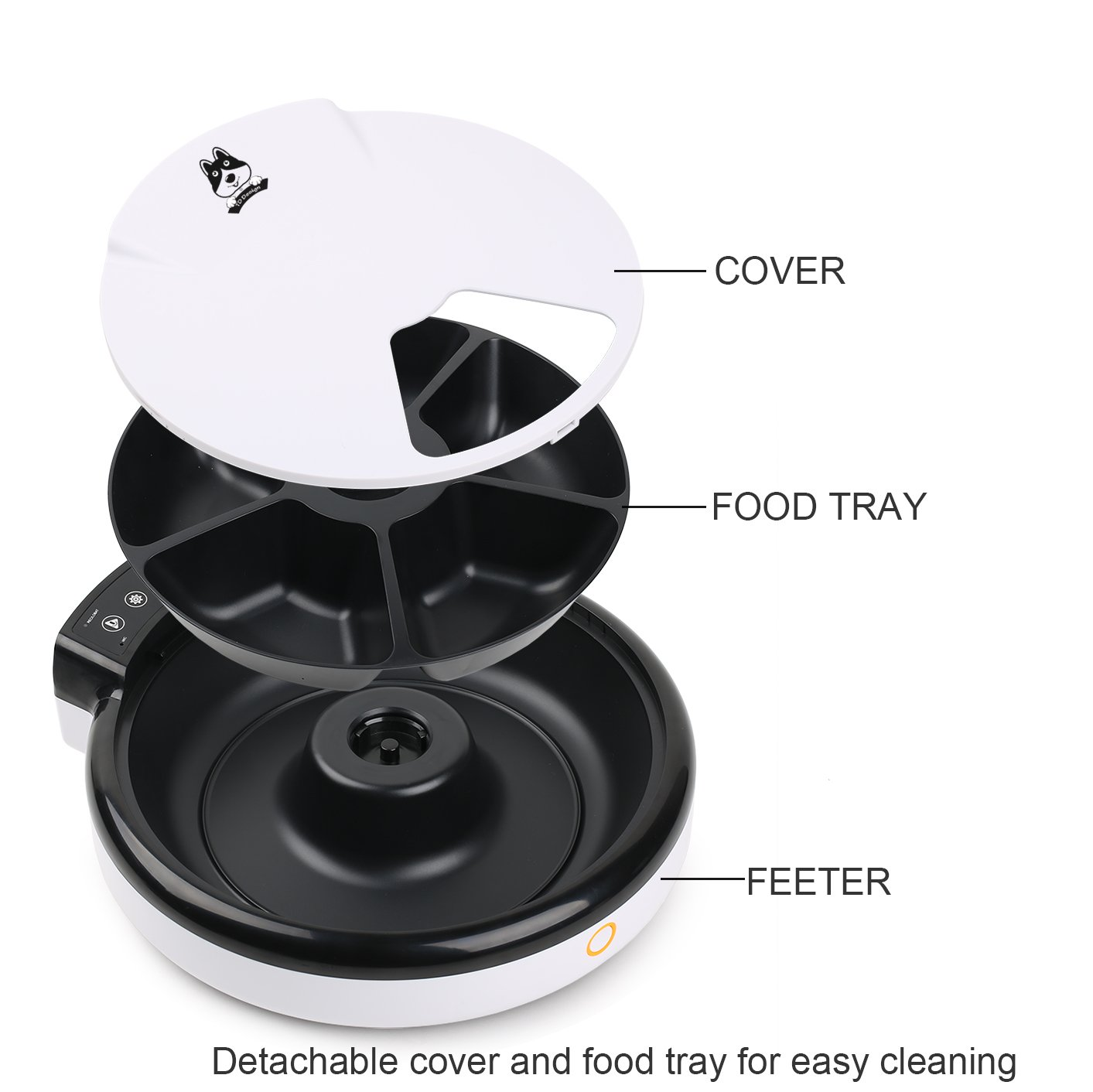 TDYNASTY DESIGN Automatic Pet Feeder for Dogs & Cats | Dry & Wet Food - 5 Meals, 5 x 240ml by TDYNASTY DESIGN (Image #2)