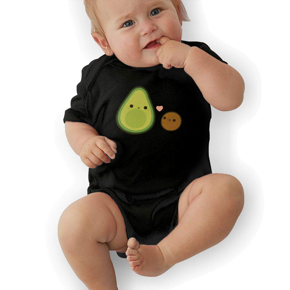 Mri-le2 Toddler Baby Boy Girl Short Sleeve Organic Bodysuits Cute Avocado and Stone Toddler Clothes