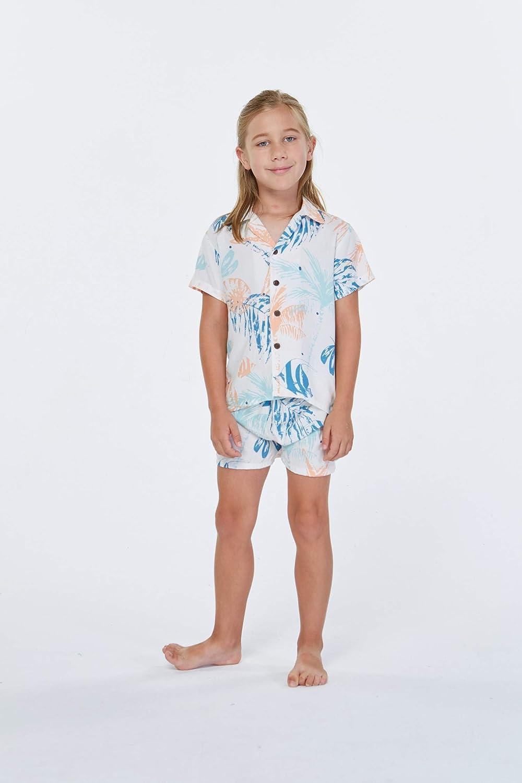 Hawaii Hangover Boy Aloha Luau Shirt Cabana Set in Simply Blue Leaves