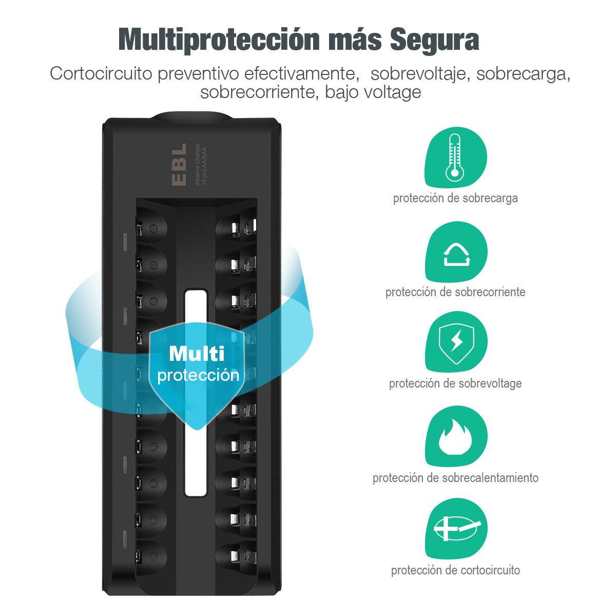EBL Cargador para Baterías Alcanas con 10 Ranuras - Color: Negro