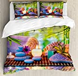 Spa Duvet Cover Set King Size by Ambesonne, Stones with Candles Spiritual Eastern Yoga Relaxation Meditation Chakra Bamboos Print, Decorative 3 Piece Bedding Set with 2 Pillow Shams, Multicolor