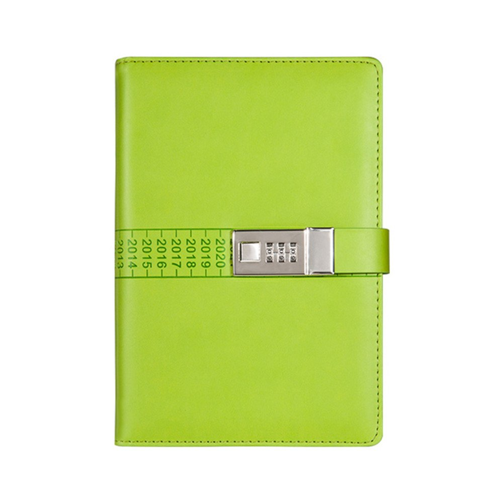junshop PUレザー仕訳NOTE BOOKS Secret Diary With Lockパスワード裏地付き、ロックジャーナル日記(グリーン) B01GXHS4JC