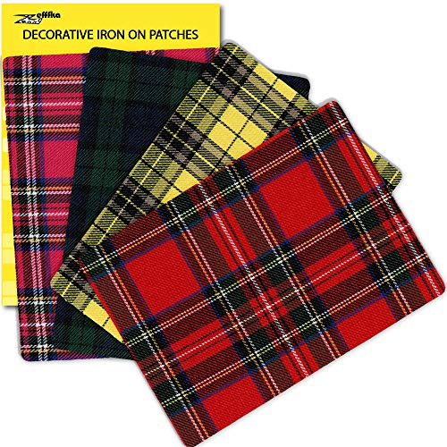 ZEFFFKA Premium Quality Plaid Fabric Textile Decorative Iron on Patches Modern Cool Design 4 Pieces 100% Cotton Repair Kit for Jeans or Other Garment 5