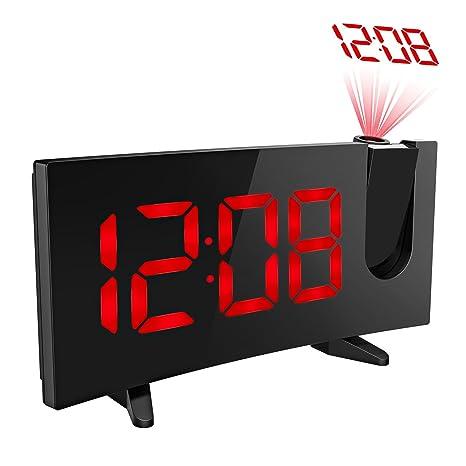 Holife FM Radio Reloj Despertador Digital de Proyección, Pantalla Curva LED Grande con Brillo Suave, Temporizador de Sueño y Alarmas Dobles con la ...