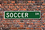 Teisyouhu Metal Stree Sign Soccer Sign Fan Soccer Player Soccer Gift Soccer Decor Soccer Athlete Football Aluminum Wall Poster Yard Fence Sign