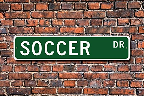 Teisyouhu Metal Stree Sign Soccer Sign Fan Soccer Player Soccer Gift Soccer Decor Soccer Athlete Football Aluminum Wall Poster Yard Fence Sign by Teisyouhu