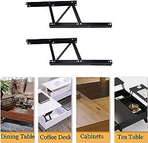 uyoyous 1 Pair Folding Lift Up Top Modern Table Mechanism Hardware Fitting Hinge Standing Coffee Table Desk Frame Rack Bracket, Black