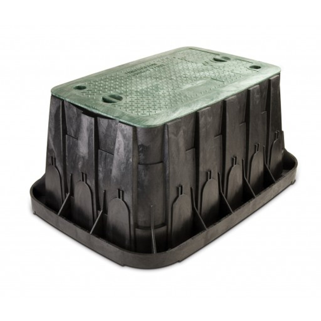 Rainbird Super Jumbo Valve Box with Rectangular Body, Lid and 2 Locks, Green by Rain Bird