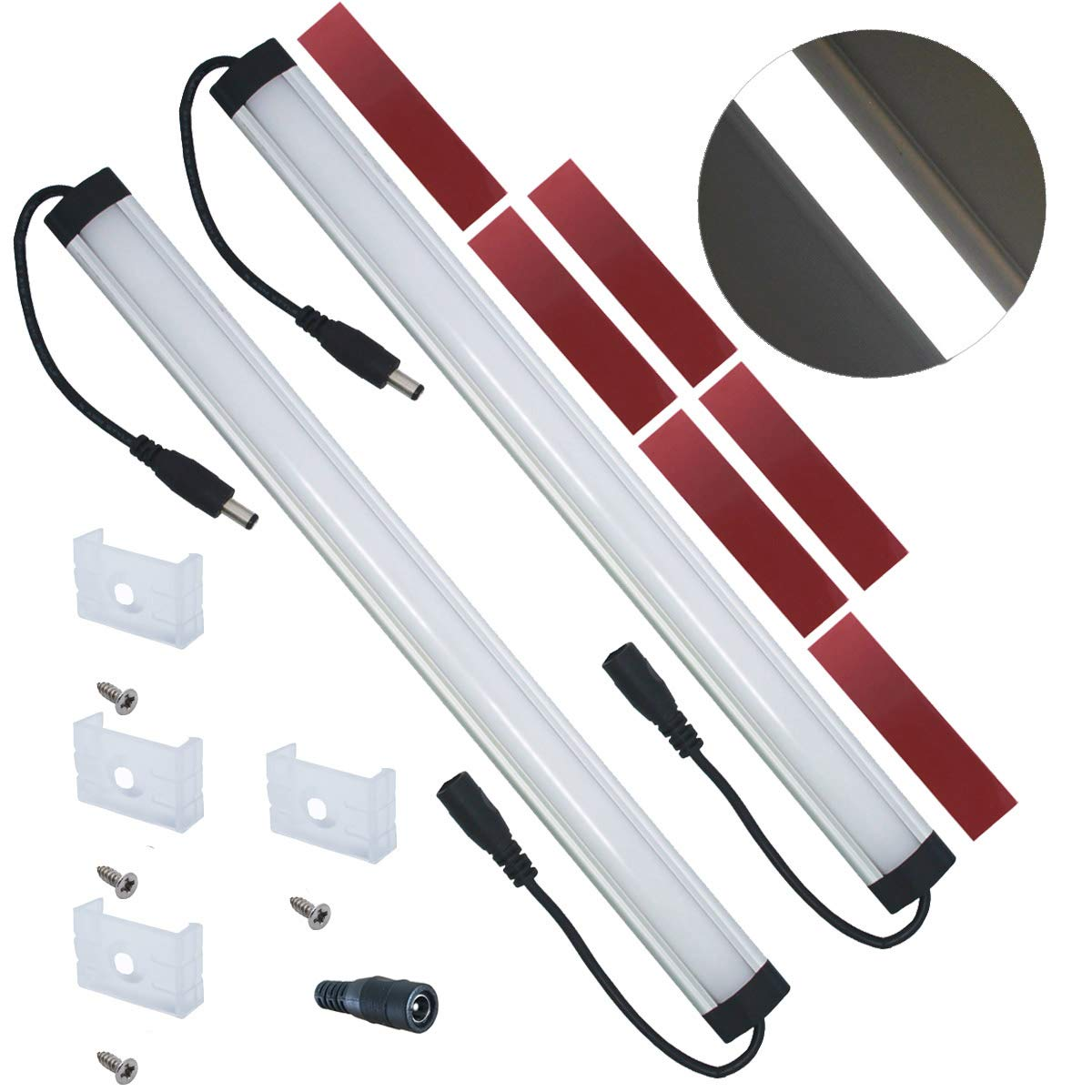 Self-adhesive Pads 5000K Daylight White 2-Pack-5000K Compatible with Litever LL-008 Series ONLY- with Mounting Clips Litever Extra Under Cabinet Lighting Bars,12VDC Screws