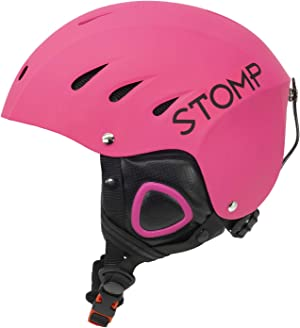STOMP Ski & Snowboarding Snow Sports Helmet with Build-in Pocket in Ear Pads for Wireless Drop-in Headphone (Matte Pink, Medium)