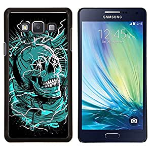 LECELL--Funda protectora / Cubierta / Piel For Samsung Galaxy A7 A7000 -- Muerte Verde Negro cráneo Daga --