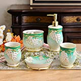 GTVERNH-Recipients Of Gifts Ceramic Vanity Set Ceramic Bath 5 Piece Set Bathroom Tooth Cup Of Mouthwash Cup Kit Green