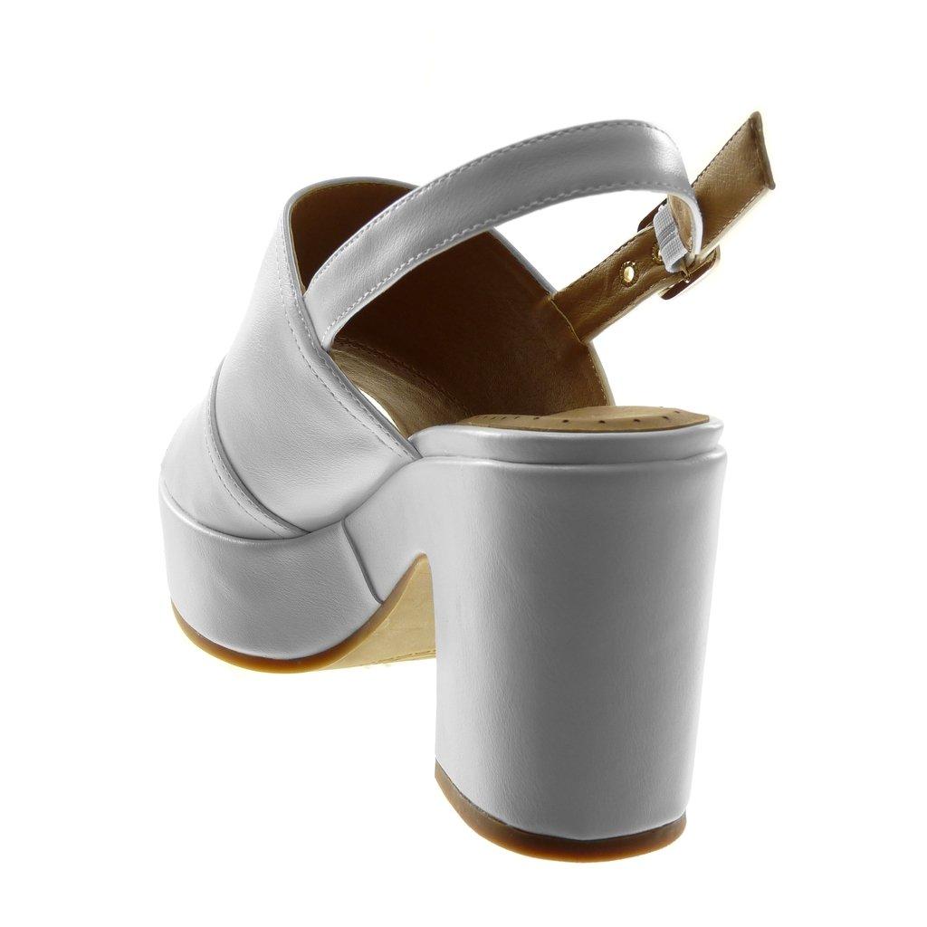 Angkorly Scarpe Scarpe Scarpe Moda Sandali Mules con Cinturino Alla Caviglia Zeppe Donna Tanga Fibbia Tacco a Blocco Alto 8.5 cm Bianco 06a5bb
