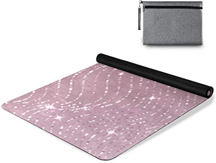 Amazon Com Senya Pink Rose Gold Glitter Yoga Mat Non Slip Exercise Mat Made From Premium Material High Performance Grip Coming With Carry Bag C Sports Outdoors