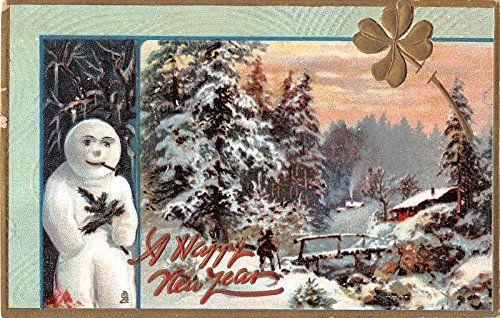 Pair Of Tuck Holiday Postcards Of Snow Scenes With Snowmen V10148