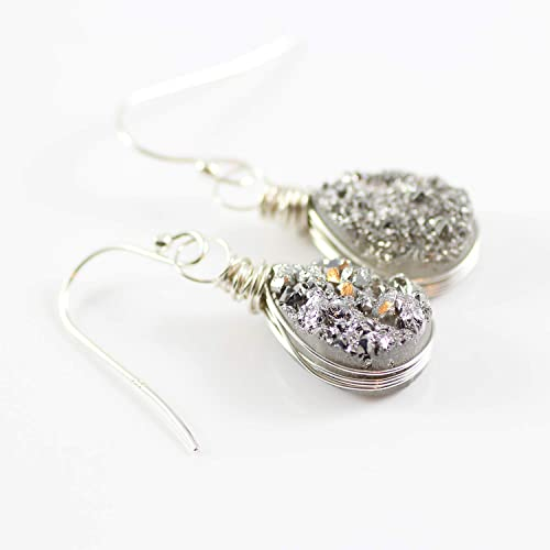 2e20bfa0f Amazon.com: Druzy Quartz Sterling Silver Teardrop Earrings: Handmade