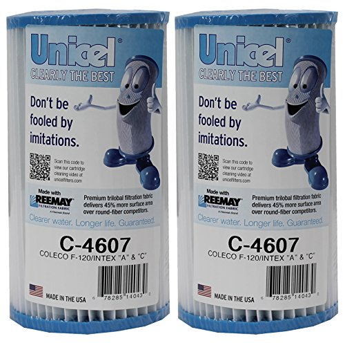 2) Unicel C-4607 Coleco Krystal Klear Intex A or C Replacement Filter Cartridges
