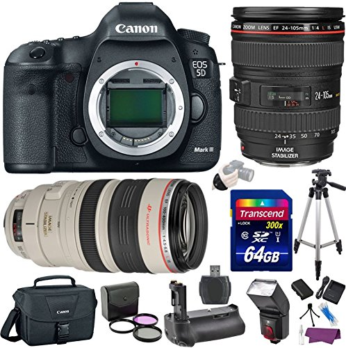 Canon EOS 5D Mark III 22.3 MP DSLR Camera w/ EF 24-105mm f/4L IS USM Lens + EF 100-400mm f/4.5-5.6L IS USM Lens Premium Bundle (Canon 600mm Ii Lens compare prices)
