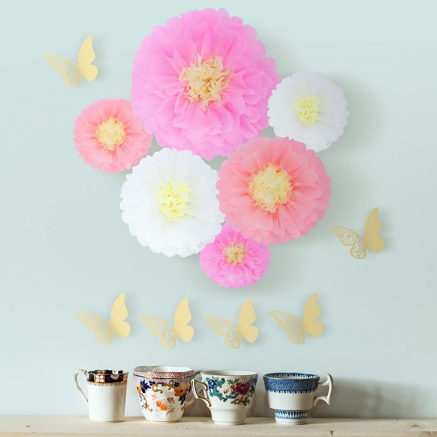 18 Pieces 3D Paper Flowers Blush Pink White Gold Large Wall Decorations 12\