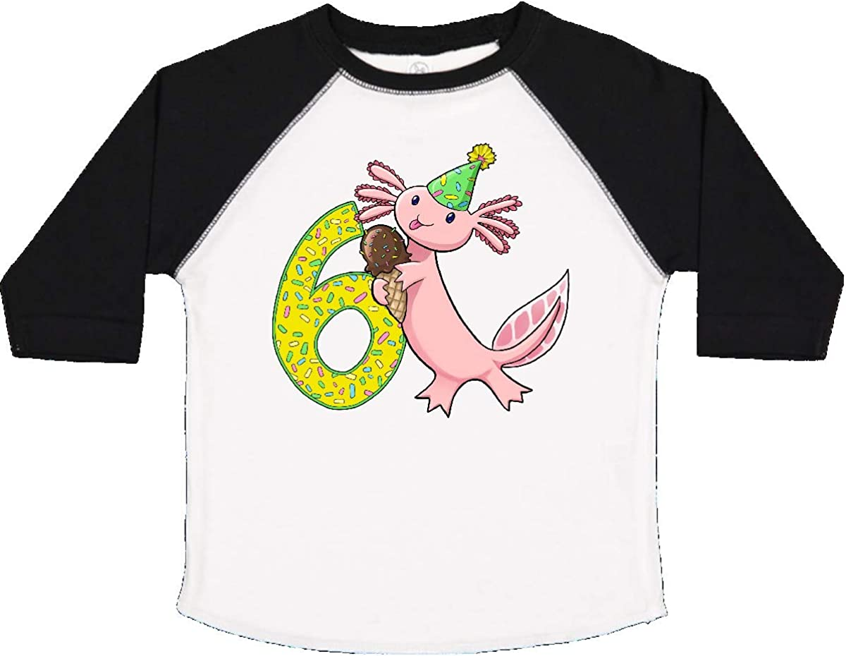 inktastic 6th Birthday Axolotl with Ice Cream Toddler T-Shirt