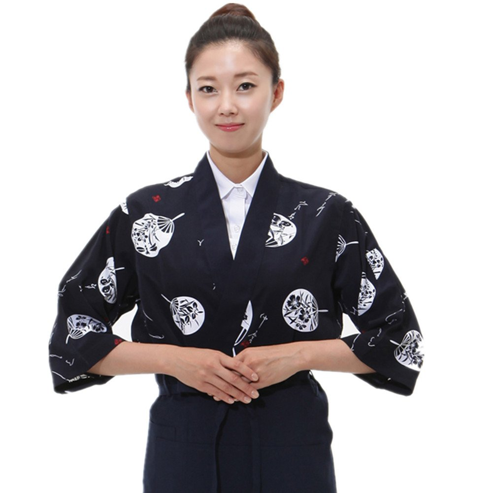 Japanese sushi chef coat for woman small uniform,Black,Small