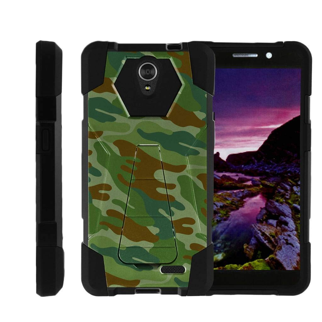 TurtleArmor | Compatible for ZTE Sonata 3 Case | Maven 2 Case | Chapel Case [Dynamic Shell] High Impact Hard Kickstand Case Layer Hard Combo Camouflage Design Set - Green Beret Camouflage
