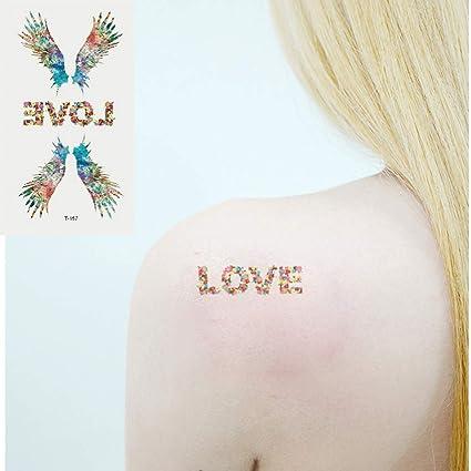 Oottati 2 Hojas Pequeño Lindo Tatuaje Temporal Tattoo Color Alas ...
