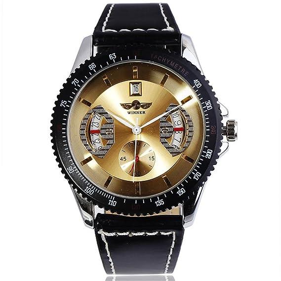 Headsome para hombre esqueleto mecánico reloj Vintage negro cuero banda hombres relojes: Amazon.es: Relojes