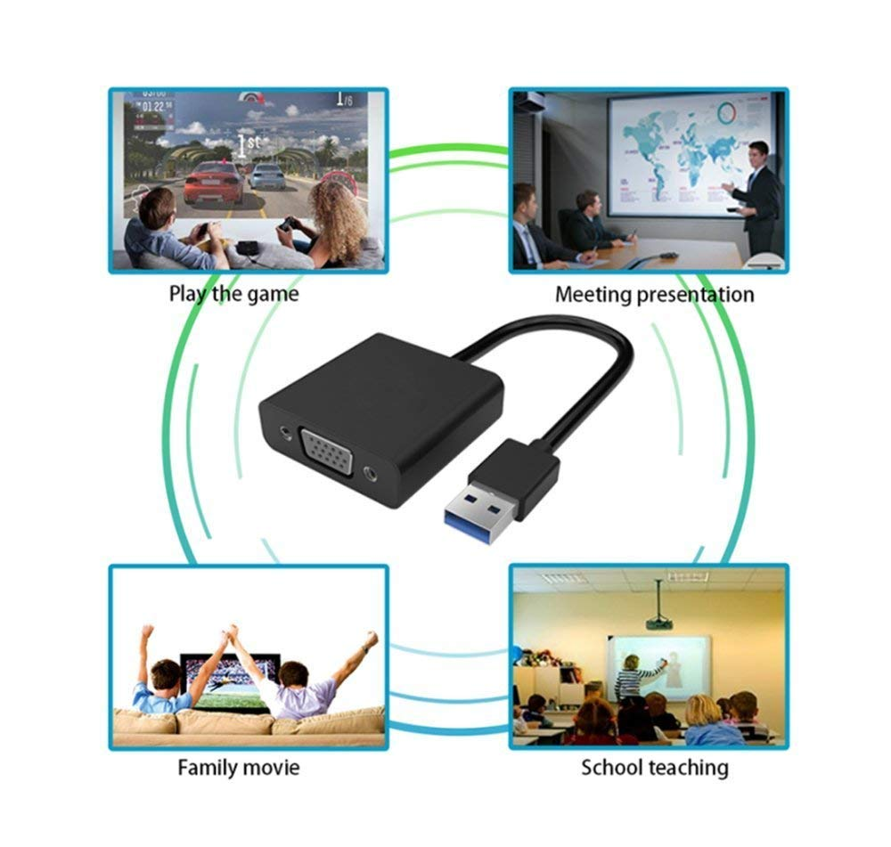 Externe Videokarte Multi-Monitor Display VGA zu USB Adapter Display externes Kabel Adapter kompatibel mit PC Laptop Windows 10//8.1//8//7//XP USB to VGA USB 3.0 zu VGA Video Adapter Konverter