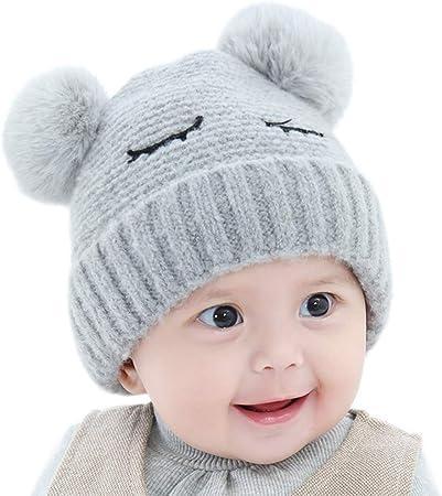 Scrox 1x Sombrero Peluche Kawaii Gorra Bebé Niños Invierno Bola de Pelo Algodón Gorritas Otoño Invierno recién Nacido Gorro de Croché Caliente (Gris): Amazon.es: Hogar
