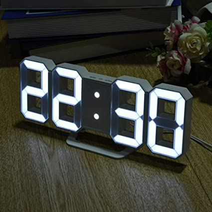 UATECH 8 Shaped LED Display Digital Table Clocks Thermometer Hygrometer Calendar Weather Station Clock flip relojes