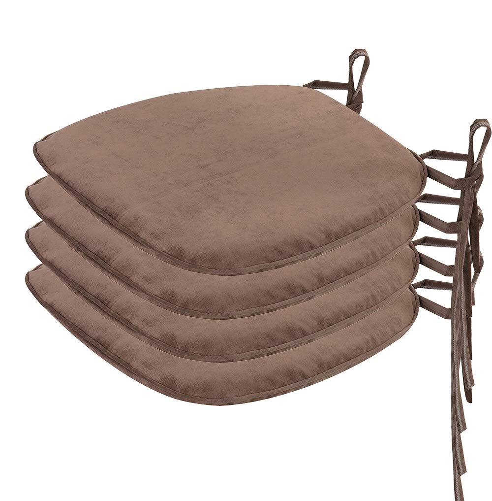 Nobildonna 4 Pack Brown 17'' x 16'' Memory Foam Chair Pad with Ties Kitchen Dining Home Décor