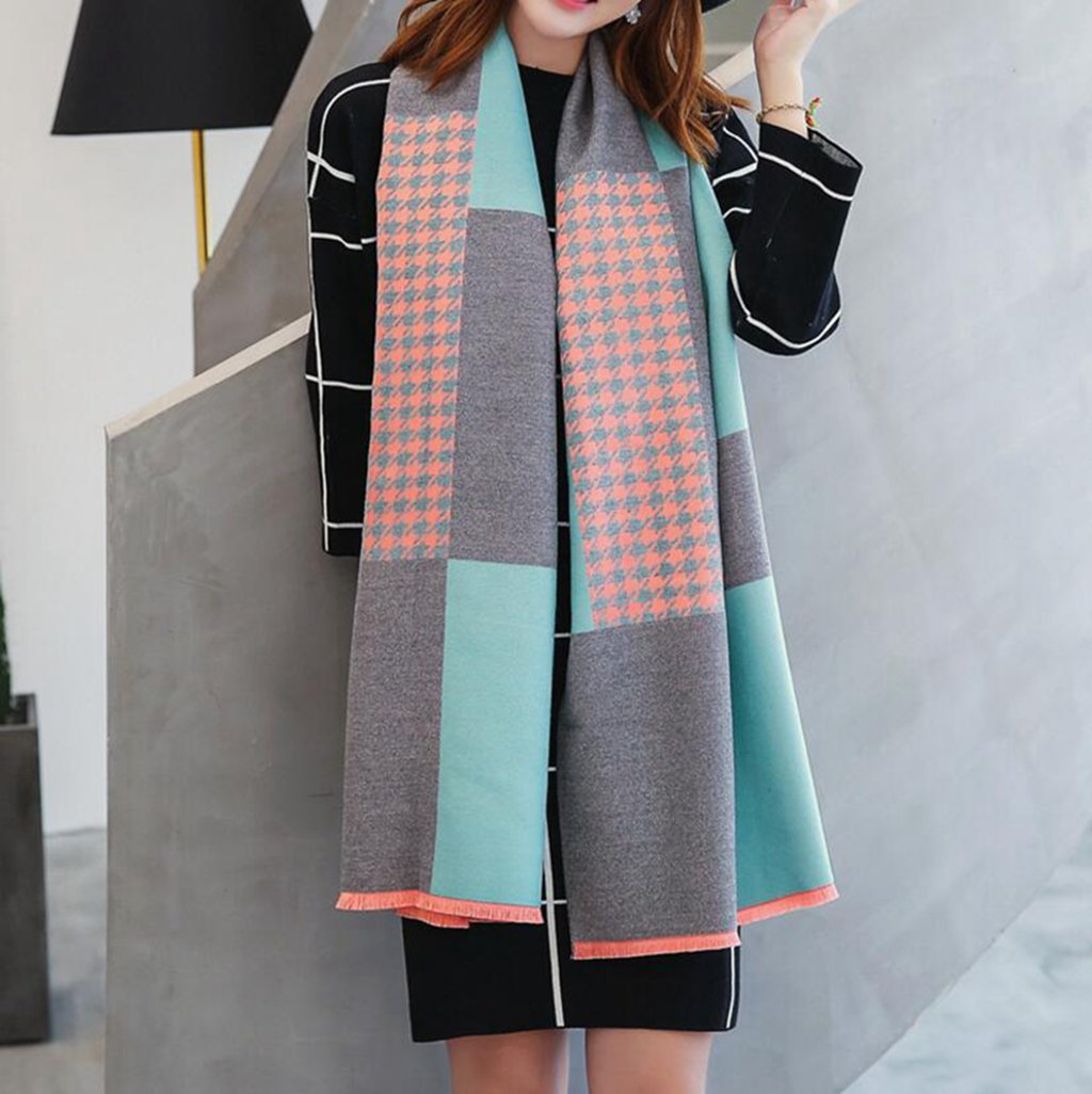 Longless Otoño e Invierno bufandas de moda color cosido para aumentar el mantón grueso collar calien...