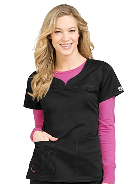 99be962bbc6 Med Couture Signature MC2 Women's Sport Neckline Lexi Scrub Top, Black,  X-Small