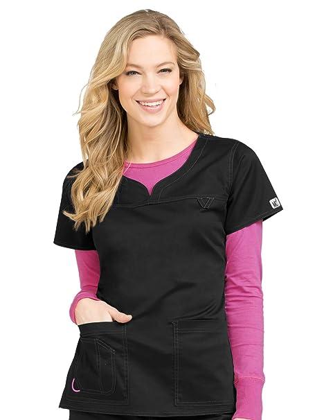 a57569bb221 Med Couture Signature MC2 Women's Sport Neckline Lexi Scrub Top, Black,  X-Small