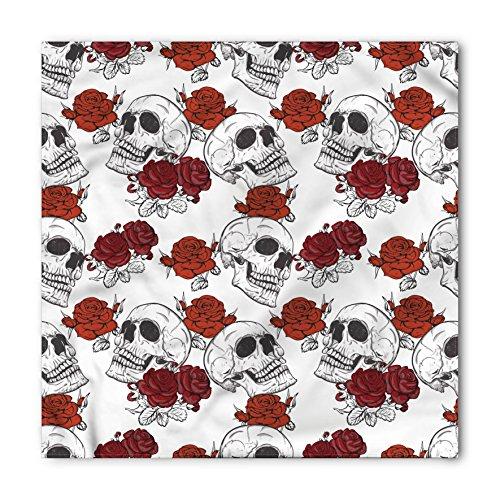 Ambesonne Unisex Bandana, Skull Roses Gothic Skull, Grey