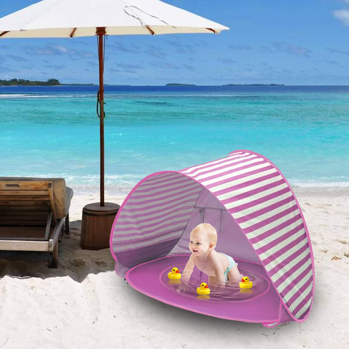Baby Strandzelt Pool,Pop Up Baby-Strandzelt Shade Pool Tent 50 UPF UV Protection Mit Geschenk-Wassertoys /& Tragetasche KiraKira Baby Strandzelt mit eingebautem Pool